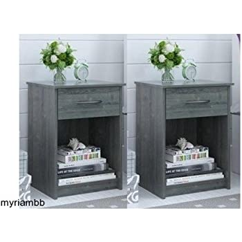 set of 2 nightstand mdf end tables pair bedroom table furniture multiple colors gray