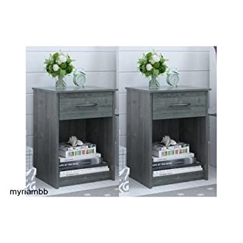 Charmant Amazon.com: Set Of 2 Nightstand MDF End Tables Pair Bedroom Table Furniture  Multiple Colors (Gray): Kitchen U0026 Dining