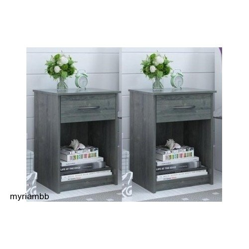 Set of 2 Nightstand MDF End Tables Pair Bedroom Table Furniture Multiple Colors (Gray) (Bedroom Furniture Bedroom Night Stands)
