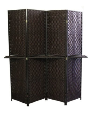 Ore International FW0676Y 4-Panel Screen Room Divider with