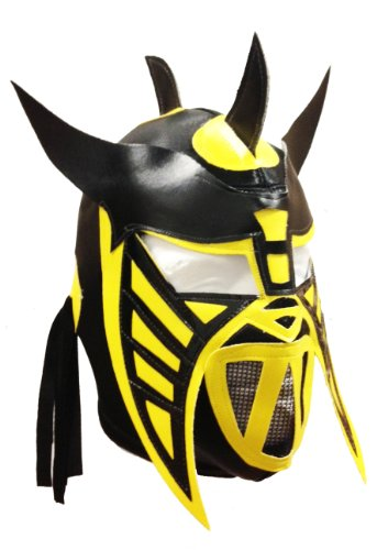 HYSTERIA Lucha Libre Wrestling Mask (pro-fit) Costume Wear - Black/Yellow/Blk -