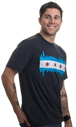 Chicago City Flag Skyline | Vintage Retro-Feel Triblend T-Shirt For Men or Women