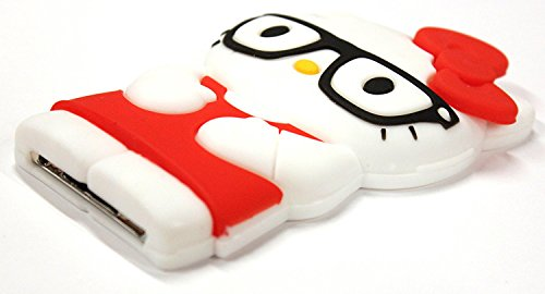 Bukit CellRed 3D Hello Kitty with glasses Itouch 4 Case 5 items: silicone Case + BUKIT CELL Trademark Cloth + Screen Protector + METALLIC Stylus Touch Pen ()