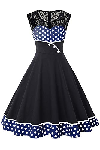 (ROSE IN THE BOX Womens 50's Audrey Hepburn Rockabilly Swing Dresses for Special Occasion,Blue,XL)