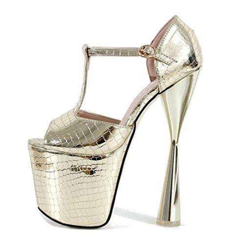 35 Sandalias Y Zapatos Pie A Del Tacón eu39 Bombas De Mujer Plataforma Fiesta 41 Xie Noche Club Dedo Aguja Gold Eu39 Abierto Tamaño Boda UPqnwFZdx