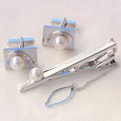 メンズ 2点セット アコヤ本真珠 タイピン タイバー カフス パール 7mm SV シルバー