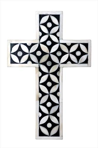 Fair Deal Handmade Bone Inlay Holy Cross Star Eye Design Wall Cross Blessing for Home and Protection Against Evil Eye