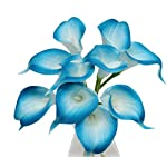 Angel-Isabella-LLC-20pc-Set-of-Keepsake-Artificial-Real-Touch-Calla-Lily-with-Small-Bloom-Perfect-for-Making-Bouquet-BoutonniereCorsage-Turquoise-Malibu-Blue-Trim