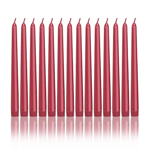 Modern Lights Taper Candles - Set of 12 Taper Candles - 10 inch Tall, 3/4 inch Thick - 7.5 Hour Clean Burning (Cardinal, 30 Pack)