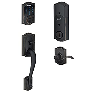 Schlage Z-Wave Connect Camelot Touchscreen Deadbolt with Built-In Alarm, Works with Amazon Alexa via Wink, Aged Bronze, FE469NX ACC 716 CAM LH (B00D1M5YTG) | Amazon Products