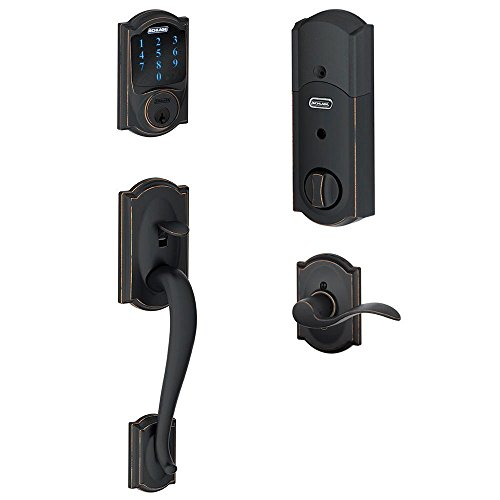 Schlage-Connect-Camelot-Touchscreen-Deadbolt-with-Built-In-Alarm-and-Handleset-Grip-with-Accent-Lever