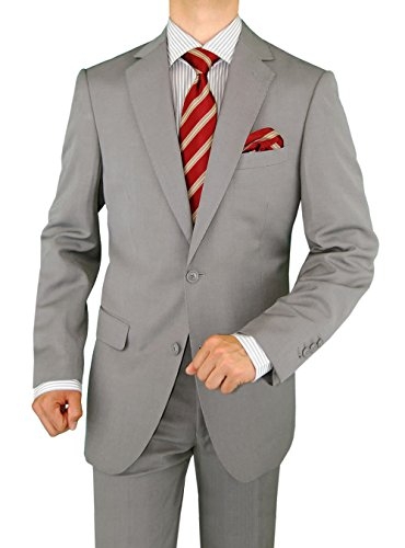 DTI GV Executive Men's 2 Button Italian Wool Suit Set Faint Herringbone 2 Piece (38 Regular US / 48R EU/W 32