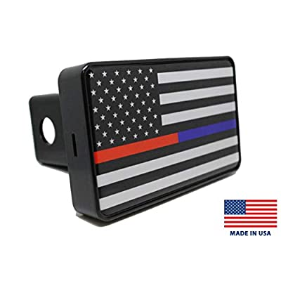 Bright Hitch - Thin Blue & Red Line American Flag Hitch Cover: Automotive