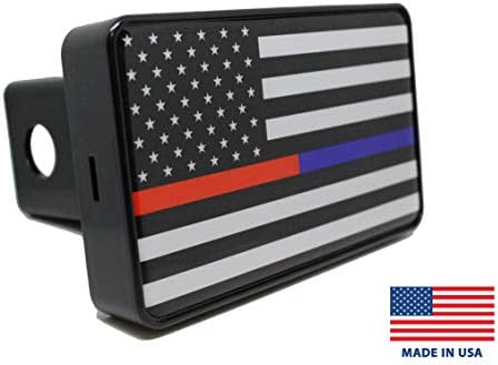 Reflective Trailer Hitch Cover Tube Plug Insert Fits 2 Receivers, Thin Blue Line