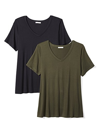 Daily Ritual Women's Plus Size Jersey Short-Sleeve V-Neck T-Shirt, 2-Pack, 5X, Navy/Forest Green