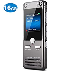 16GB Digital Voice Recorder for Lectures - TOOBOM Sound Audio Recorder Dictaphone Tape Recorder Recording Device with Playback Variable Speed MP3, FM Radio