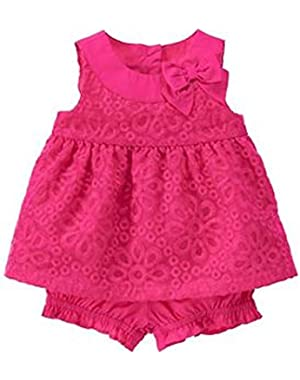 Toddler Girl Fuchsia Organza 2 Piece Set 3-6 Months