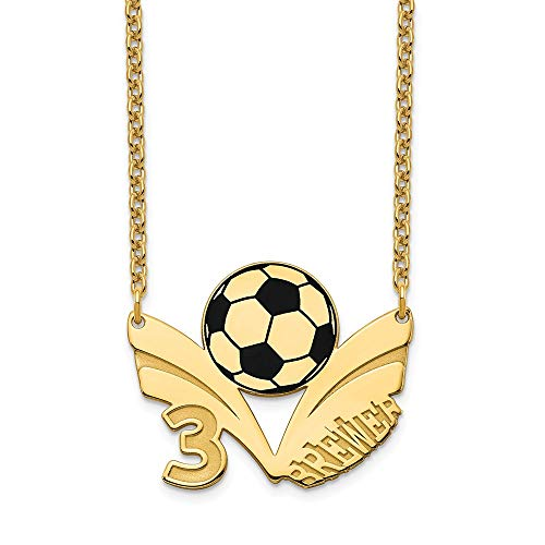 Roy Rose Jewelry Personalized Custom Sport Player Number and Name on Soccer Ball Pendant Necklace in Solid 14K Yellow - Soccer Player 14k