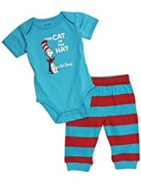 Dr. Seuss Short Sleeve Bodysuit and Pants, Blue Cat, 6 Months