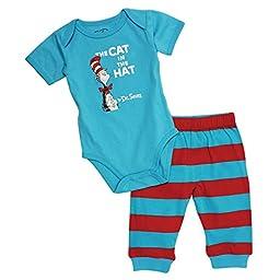 Dr. Seuss Short Sleeve Bodysuit and Pants, Blue Cat, 9 Months