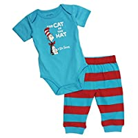 Dr. Seuss Short Sleeve Bodysuit and Pants, Blue Cat, 3 Months