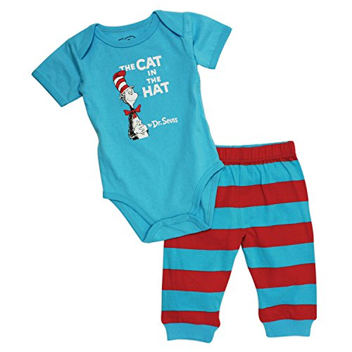 Dr. Seuss Short Sleeve Bodysuit and Pants, Blue Cat, 3 ()