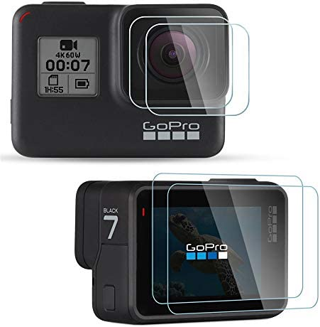 //Hero 5//Hero 6 //Hero HD Only Black 2018 Tempered Glass Lens Protector Ultra Clear Tempered Glass Screen Protector 2 Packs blackbeetle Screen Protector for GoPro Hero 7