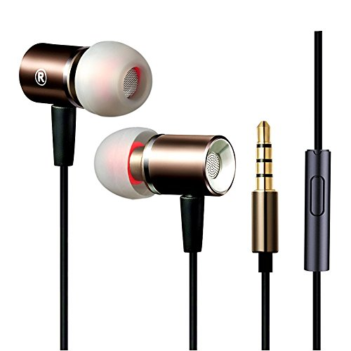 Metal Extra Bass Stereo Earbuds Wired In Ear Headphones with Microphone,Noise Cancelling Earphones Mic for iPhone Android iPad Galaxy Corded Headsets for Man,Women,student,Girl-(Black+Gold)Jeselry