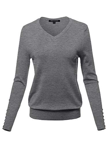 (Casual Premium Quality with Gold Button Stretchy V-Neck Sweater Top Charcoal XL)