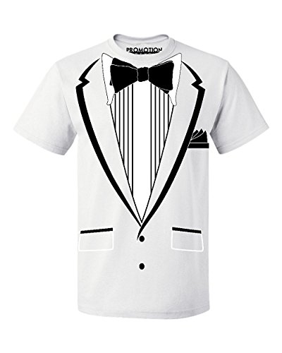 Promotion & Beyond Tuxedo (Black) with Pocket Square Ceremony Men's T-Shirt, 3XL, White (White Magnet T-shirt)
