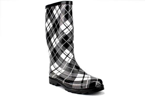 J'aime Aldo West BLVD Ladies Rubber Boots Calf High Plaid Rain Boot, Black Plaid, 11