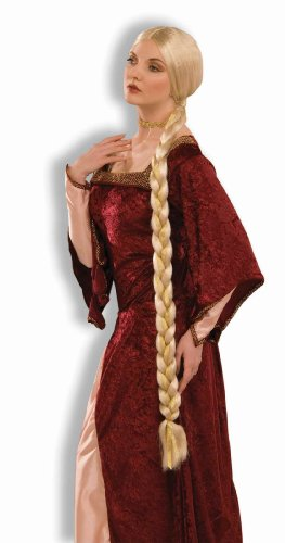 Princess Wigs For Adults (Forum Novelties Women's Adult Extra Long Braids Princess Rapunzel Costume Wig, Blonde, One Size)
