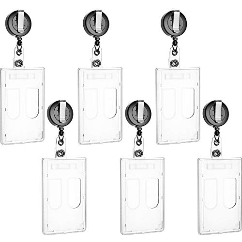 SATINIOR 6 Pair Retractable Double ID Card Slot Heavy Duty Badge Holder for Office Company Employee School Student ID - Reel Double Badge
