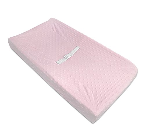 (American Baby Company Heavenly Soft Minky Dot Fitted Contoured Changing Pad Cover, Pink Puff, for Girls)