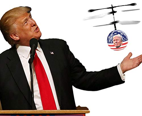 Collectible Toy: President Donald Trump & American Flag Flying Ball| LED Light RC Controlled Heliball Drone| Office Desktop Trump Toy Helicopter| Amazing Humorous Political Gifting Idea