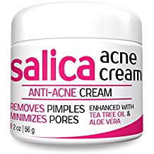 Salica Acne Treatment Cream - Topical Anti Acne Medication with Salicylic Acid and Tea Tree Oil - Get Rid of Acne Scars, Pimples, Cystic Acne and Blackheads - Same Formula New Packaging,Ounce 2 OZ