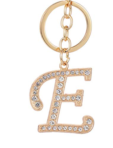 (Keychain for Women AlphaAcc Purse Charms for Handbags Crystal Alphabet Initial Letter Pendant with Key Ring,Letter E)
