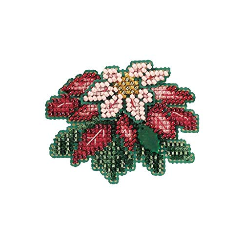 Pink Poinsettia Beaded Counted Cross Stitch Ornament Kit Mill Hill 2007 Winter Holiday MH187304 ()