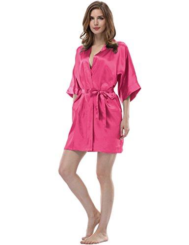 Sunnyhu Women's Pure Color Kimono Robe, Short
