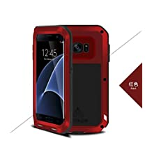 Samsung Galaxy NOTE 3 Case - CGJY Heavy Duty Aluminum Metal Double mixed Bumper ShockProof WaterProof DustProof with Gorilla Glass Case Cover for Samsung Galaxy NOTE 3 Red