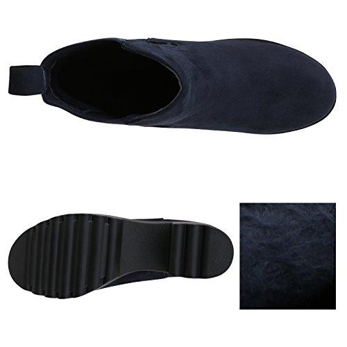 Stiefelparadies Leicht Gefütterte Booties Damen Stiefeletten Plateau Chelsea Boots Plateauschuhe Blockabsatz Profilsohle Schuhe Leder-Optik Glitzer Flandell Dunkelblau Berkley