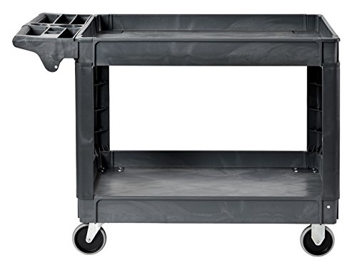Sandusky PUC254635-2 Gray Heavy Duty Plastic Utility Cart, 2 Shelves, 33