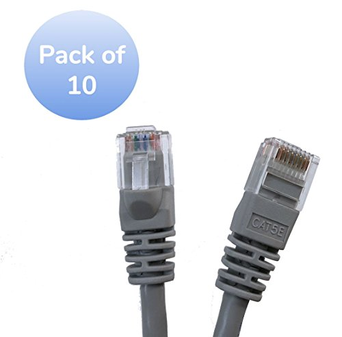 Gray Micro Connectors Inc 10 feet Cat 5e UTP Molded Snagless RJ45 Networking Patch Cable E07-010