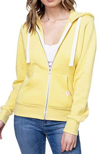 Urban Look Womens Active Long Sleeve Fleece Zip Up Hoodie (Large, B1 Solid Butter ()