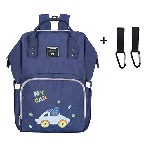 Multifunctional Baby Diaper Bag Backpack with Insulated Pockets Large Waterproof Nappy Changing Bag with Stroller Straps Hook Blue