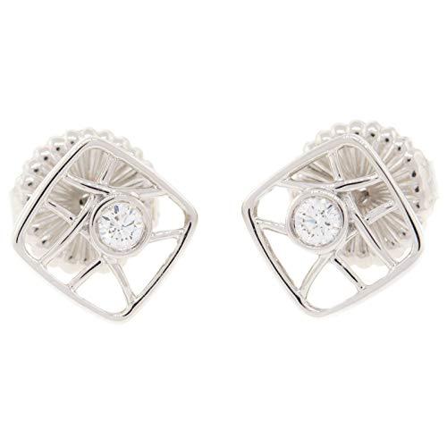 Hearts on Fire HFEBRS00158W Brocade Square 18K Gold Diamond Stud Earrings ()