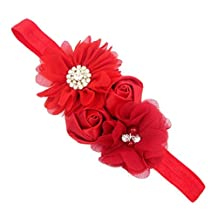 Aorbi Baby Girl's Rhinestone Flower Headbands Elastic Hairband Head Wrap