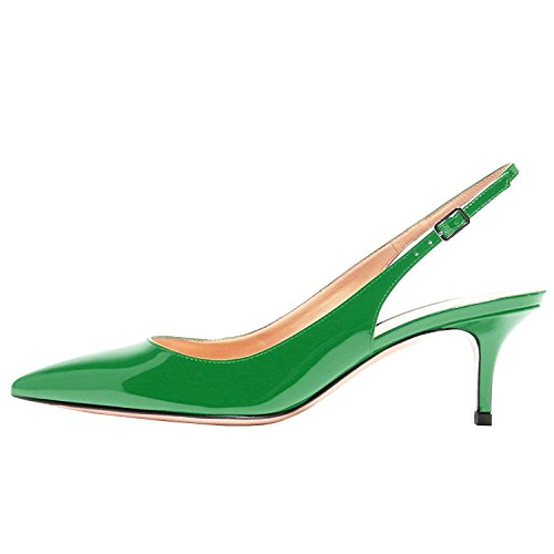Lovirs Womens Green Slingback Ankle Strap Sandals Stiletto Mid-Heel Pointy Toe Pumps Shoes for Party Dress 6 M US - Womens Green Mid Heel