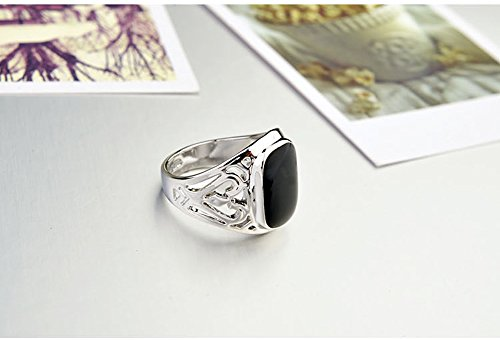 Star Jewelry White Gold Plated Man and Woman Enamel Ring New Years Gift Jewelry Promise Ring Size 6-14 by Star Jewelry (Image #1)