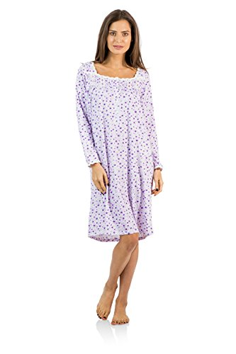 Casual Nights Women's Square Neck Long Sleeve Floral Nightgown - Floral/Purple - Large (Nightgowns Shop Long Sleeve)